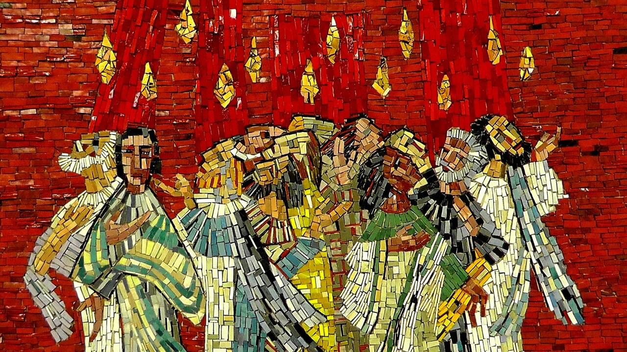 Symbolbild Pfingsten, Heiliger Geist: Mosaik der Jünger mit Feuerzungen