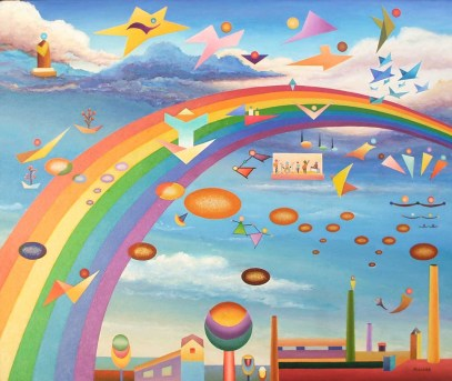 Over the rainbow 81x100Cm
