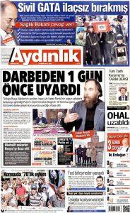 Haber bugünkü Aydınlık'ta manşet...