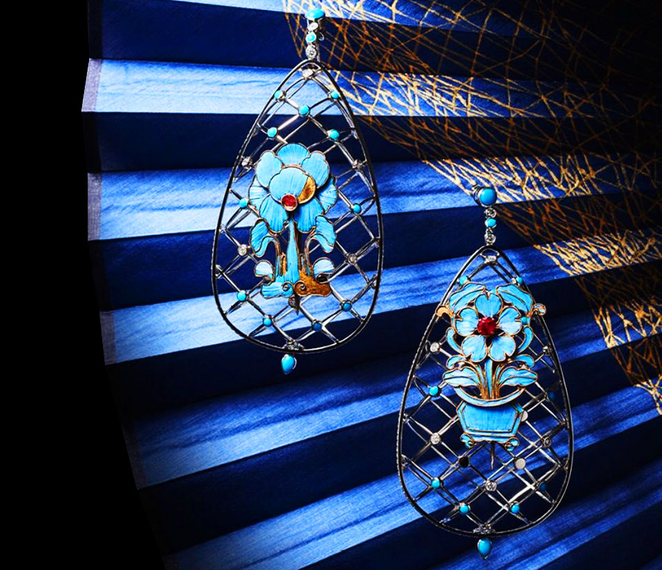 Fei Liu bespoke Kingfisher Earrings