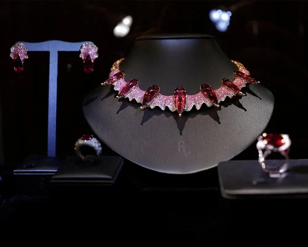 Fei Liu bespoke Gothic Rubellite Neckpiece displayed in London Exhibition