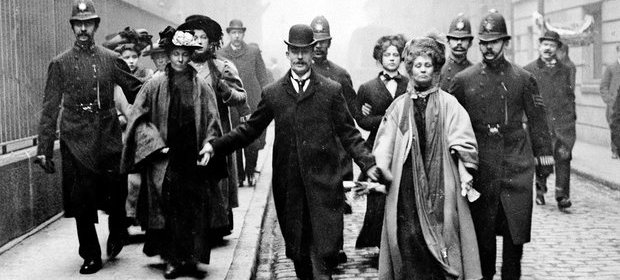 Attention grabbing … Emmeline Pankhurst being arrested in 1910. Photograph: Trinity Mirror / Mirrorpix / Ala/Alamy