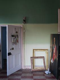 Wall: Green Smoke® No.47, Cooking Apple Green® No.32 & Tunsgate Green® No.250 Estate® Emulsion Door: Cornforth White® No.228 Estate® Eggshell Woodwork: Pink Ground® No.202 Estate® Eggshell. All Farrow & Ball.