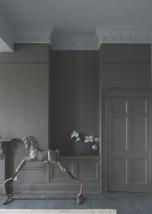 Farrow & Ball Mole's Breath™ No.276 with ceiling in Blackened® No.2011, woodwork in Mole's Breath™ No.276, floor in Down Pipe® No.26