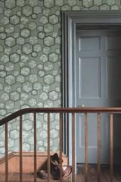 Farrow & Ball Shouchikubai BP 4505 wallpaper with woodwork in Down Pipe® No.26