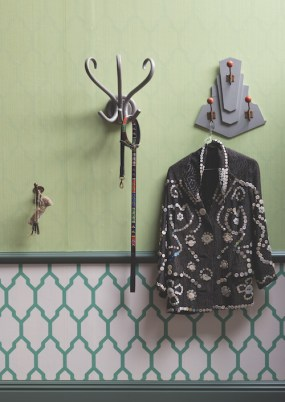 Farrow & Ball Drag DR 1252 wallpaper above dado, Tessella BP 3603 wallpaper below dado, woodwork in Green Smoke® No.47, coat hooks in Manor House Gray® No.265