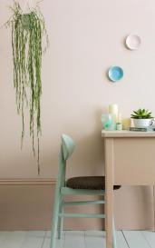 Farrow & Ball Pink Ground® No.202 on wall with skirting in Setting Plaster® No.231, floor in Pale Powder™ No.204, desk in Setting Plaster® No.231, chair in Teresa's Green® No.236