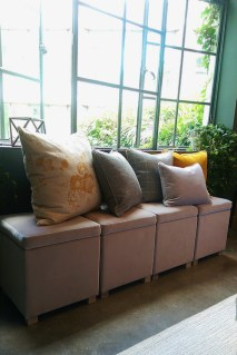 Upholstered storage stools with an array of new cushions
