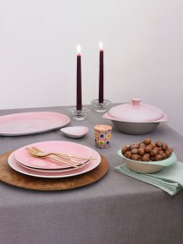 Serving dish £75.50, soup bowl £22.00, bon bon dish £14.50, plates in Elephant Grey and Blossom Pink £22.50 - all Branksome China