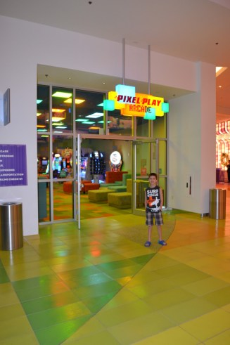 Pixel Play Arcade and a very happy 8 year old.