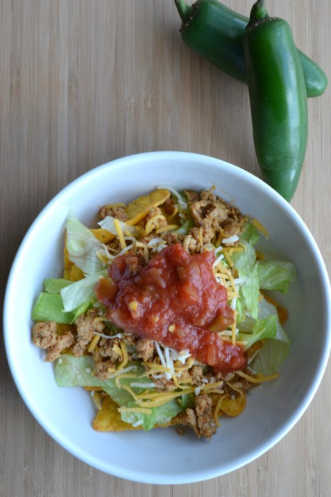 Easy recipe for chicken taco salad using ground chicken instead of beef.