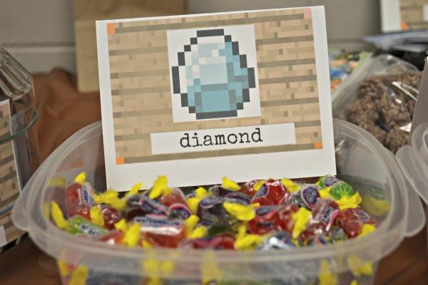 minecraft diamond birthday party treat