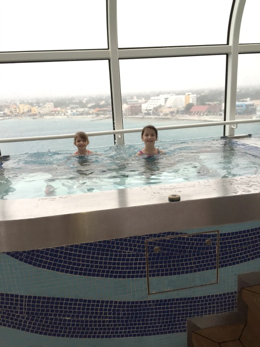 Hot tub on the Disney Fantasy, enjoying the ample space while at port in Cozumel, Mexico.