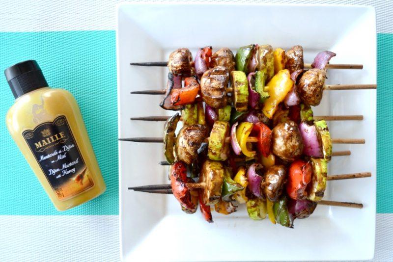 Balsamic Honey Dijon Mustard Vegetable Kabobs