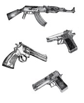 study of guns for a bigger piece