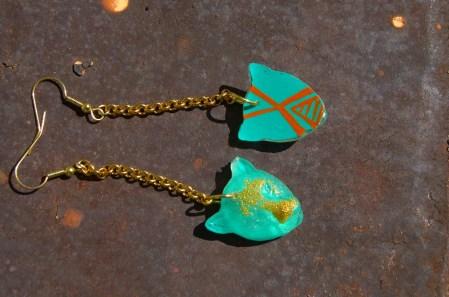Leopard Chain earrings in Mint