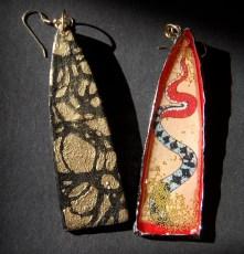 Snake earrings in red front & back