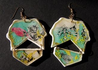 Swarmed Feather earrings