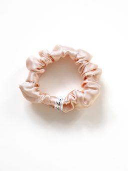 peach silk scrunchie