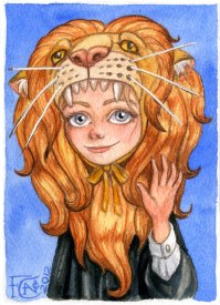 Luna With Gryffindor Lion ,Watercolor