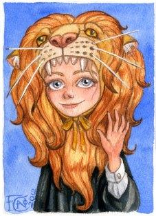 Luna With Gryffindor Lion ,Watercolor