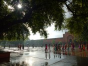 People and the wet square