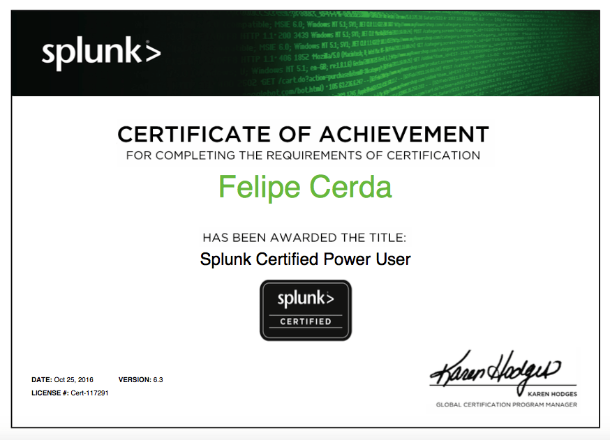 Felipe Cerda Certified Splunk Power User