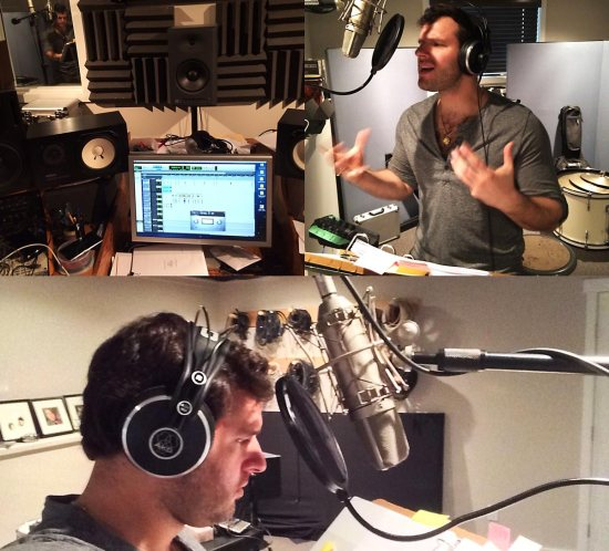 Felipe Alberto recording the voice of Chema for Guardians Evolution Season 3
