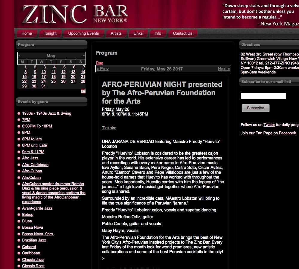 Felipe Alberto Performing at the Zinc Bar in New York