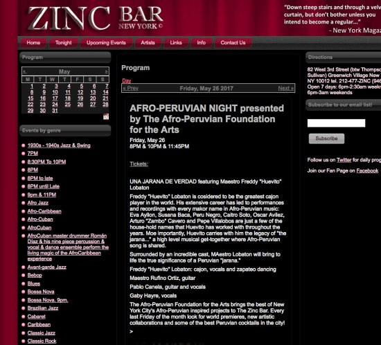 Felipe Alberto Performing at the Zinc Bar in New York