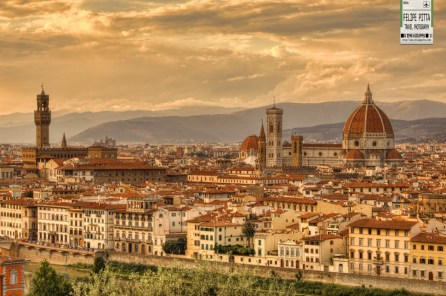 A sunset in Florence from Piazzale Michelangelo