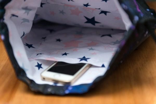 worek plecak w gwiazdy kosmos