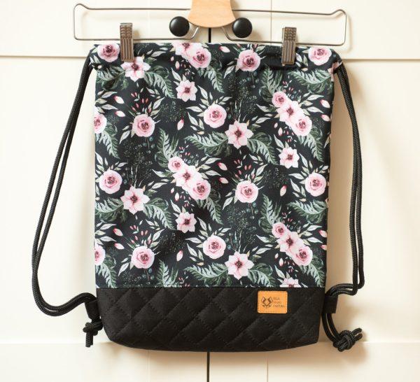 worek plecak w kwiaty