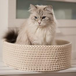 Legowisko dla kota ze sznura bawełnianego handmade