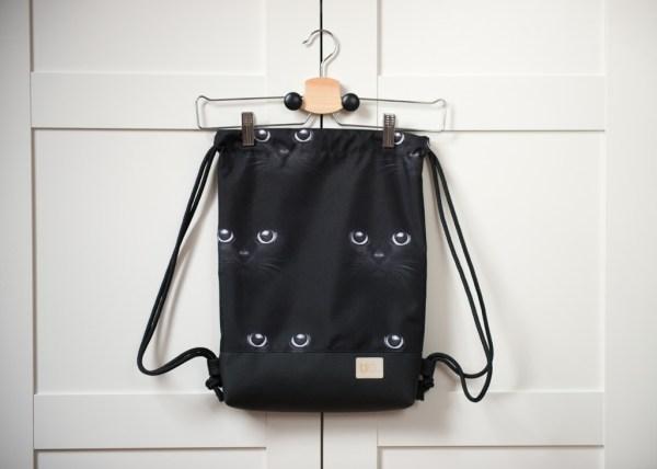 0plecak worek wodoodporny w koty czarny