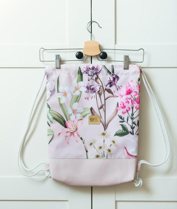plecak worek kwiaty roz