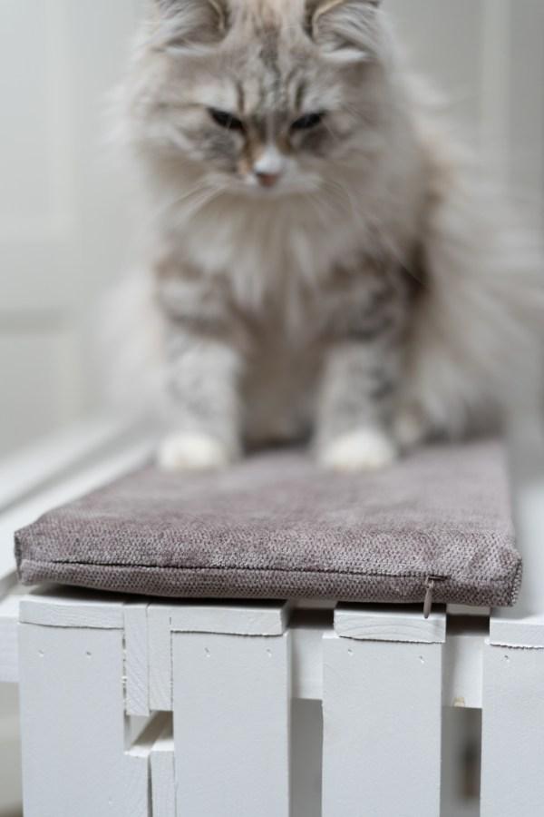 beżowe legowisko na parapet dla kota