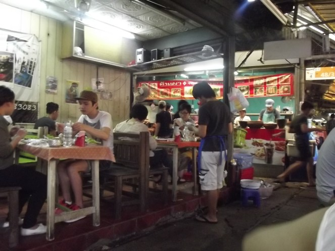 A crowded food stall
