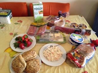Fresh strawberry, salad, fresh bread...