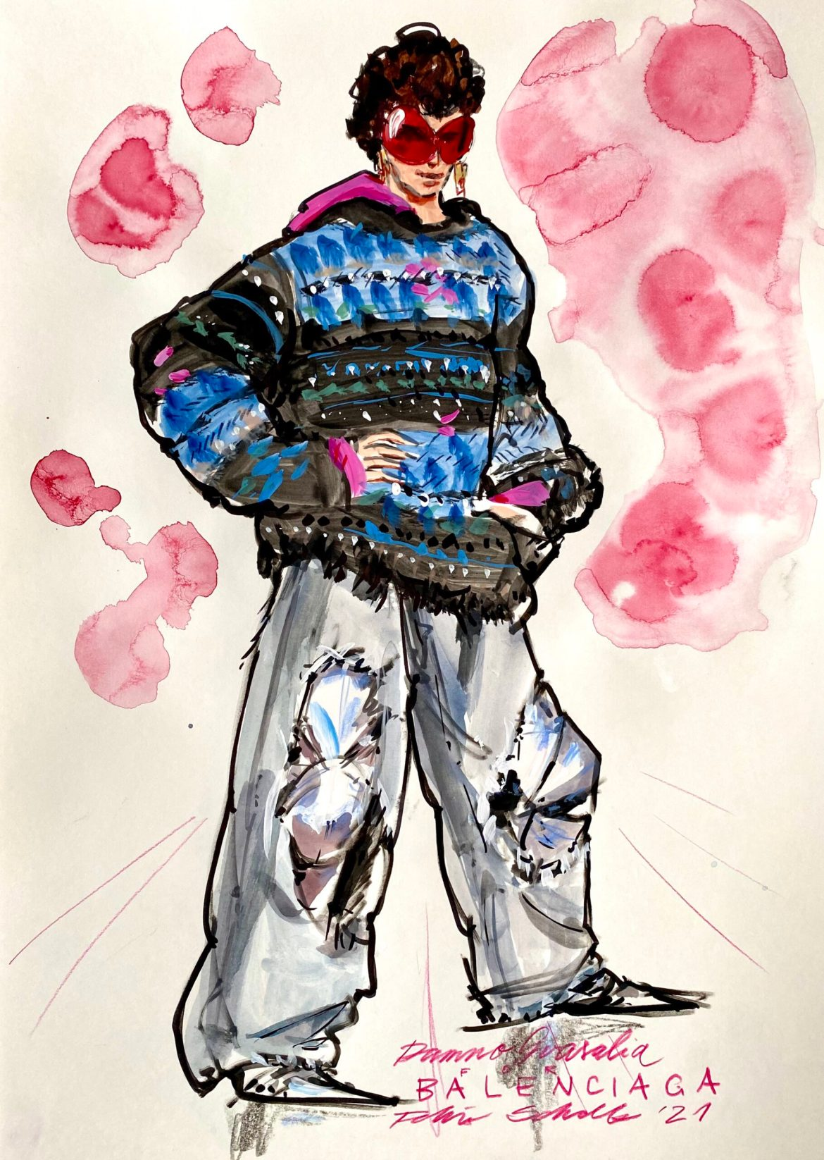 Fashion illustration of a man in wide ripped jeans and a knitted sweater