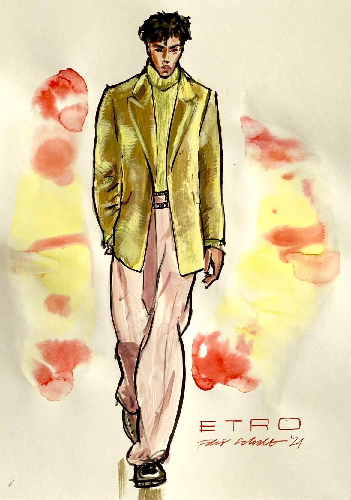 Modeillustration eines männlichen models mit goldgelbem samtjacket