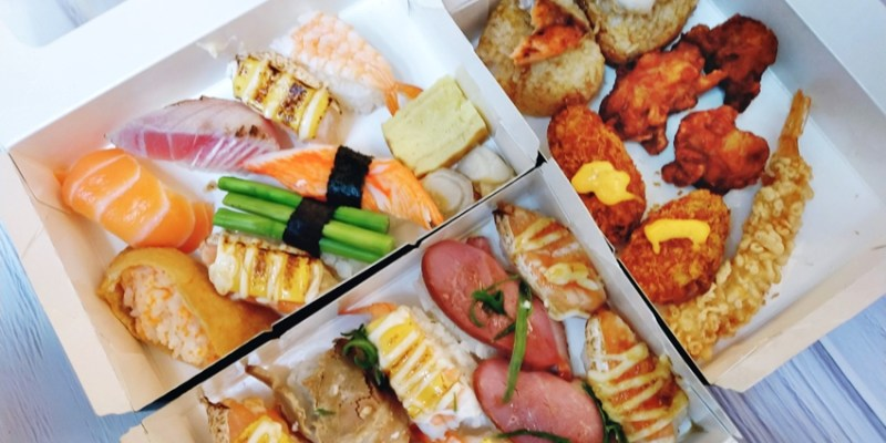 西區便當|点爭鮮迴轉壽司也有便當喔!壽司餐盒120元,菜色選擇挺豐富,也有炸物、烤飯糰