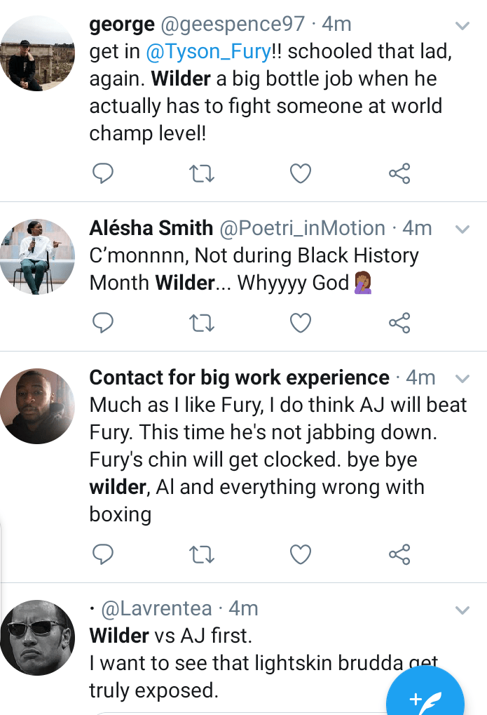 Anthony Joshua should avoid Tyson Fury by all means now' - Social media reacts to Fury's win over Deontay Wilder