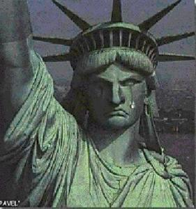 Statue of Liberty in tears