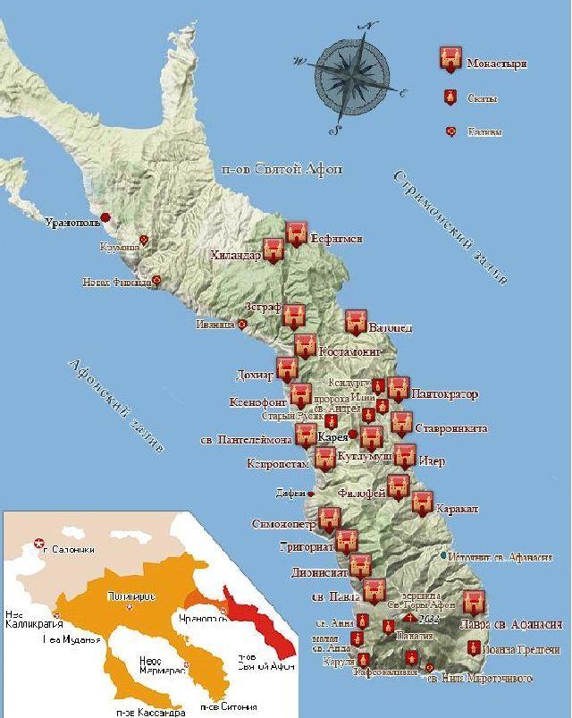 Карта монастырей Афона