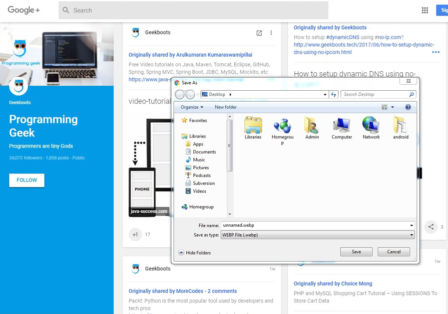 Convert or Save webp image to jpg / png