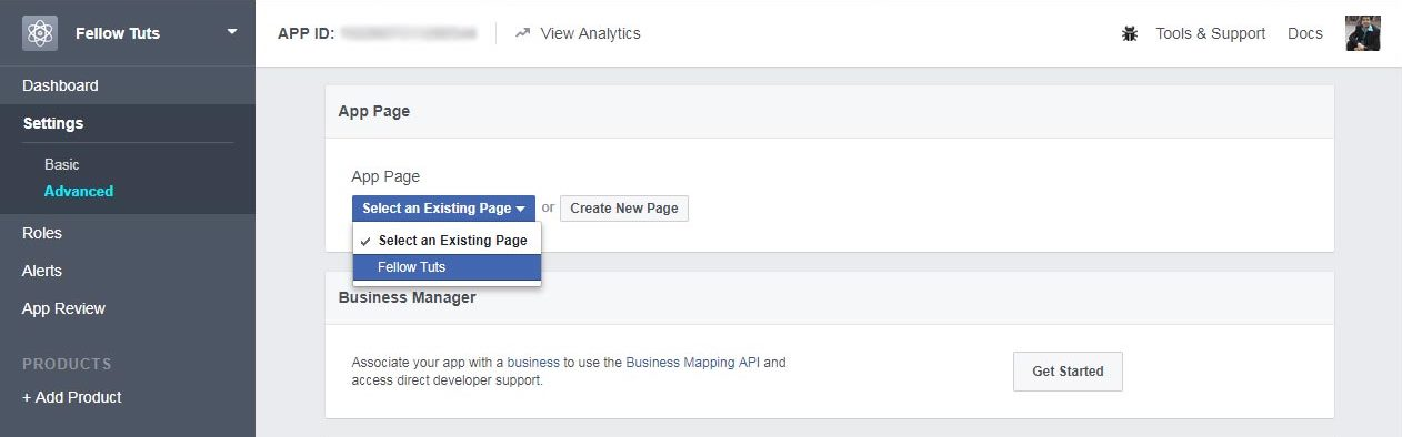 Connect or Link Facebook App to Facebook Page