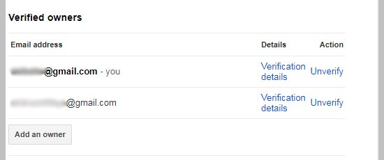 Google site ownership verification