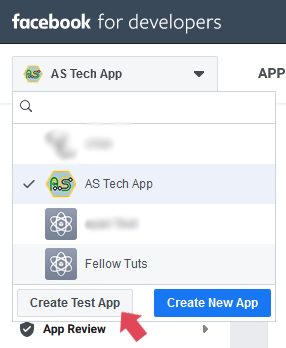 Create Test App Facebook Login