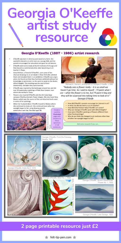 Georgia O'Keeffe artist research study worksheet